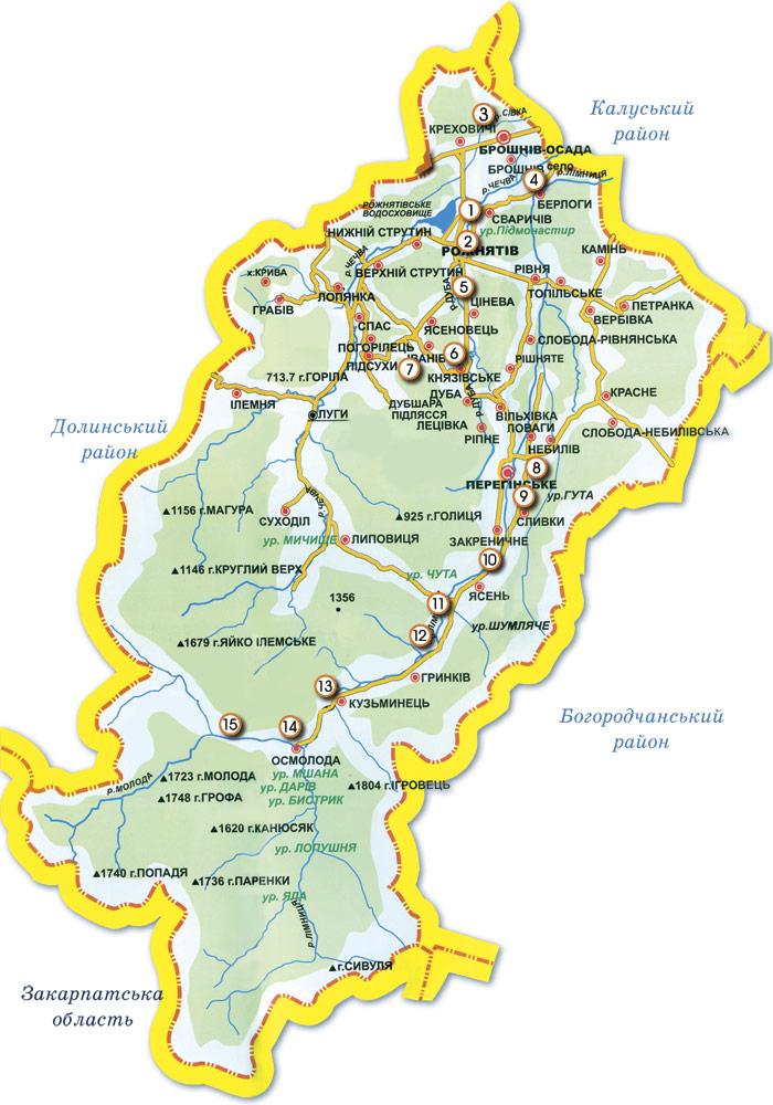 Туристична схема Рожнятівського району